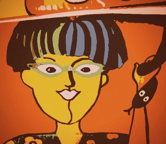 Zeichnung Frau vor orangefarbenem Hintergrund