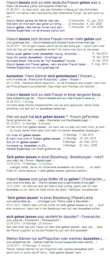 """Die ersten Treffer zu den Suchbegriffen """"sich gehen lassen Aussehen"""""""