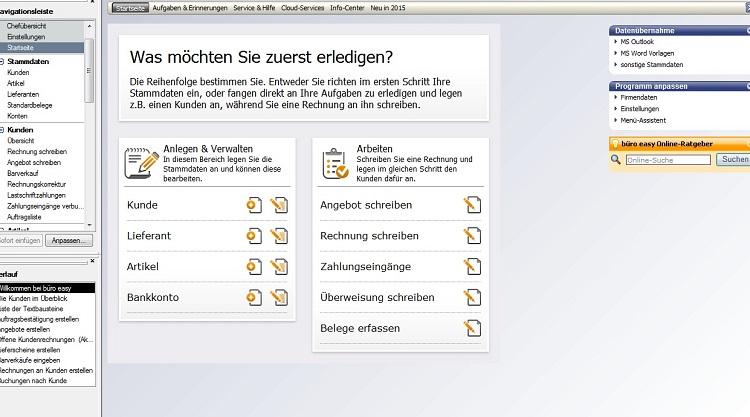 Der Startbildschirm von Lexware büro easy führt direkt zu den am häufigsten Tätigkeiten in der Buchhaltung, z. B. zum Erfassen von Belegen.