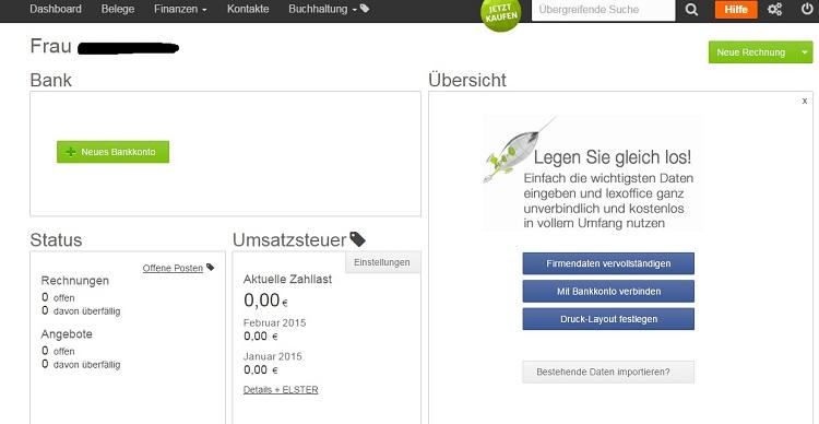 Der Startbildschirm - das Dashboard von lexoffice - einfach und übersichtlich.