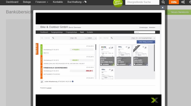 Das Video von lexoffice erklärt, wie die lexoffice-Software Belege sofort im Kontoauszug findet.