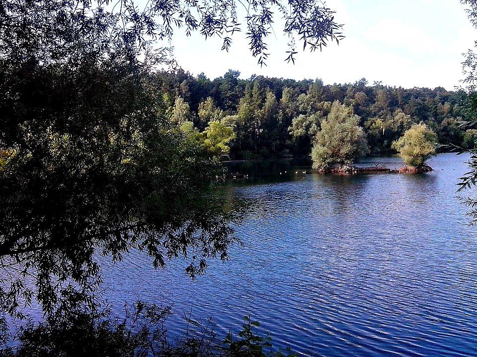 See mit Vogelinsel im Weserbergland